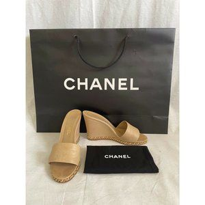 Authentic CHANEL Women's Shoes Heels  Sandals Wedge Leather Chain Me 39